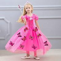 BUTTERFLY DRESS PINK kostum anak cinderella baju pesta cinderela kupu - Size 110