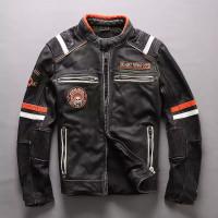 jaket kulit motor touring jalanan terbaru asli domba super original - Hitam, S