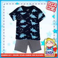 Baju anak laki-laki/Setelan anak laki2 motif Dino Navy Fullprint 1-10 - 1-2 tahun