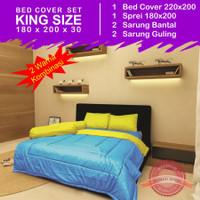 Set Bed Cover 2 Warna - RoyalBlue Yellow - King Size 180 x 200