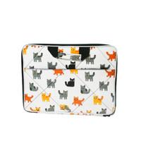 Tas laptop softcase 14 inch kanvas motif-Tas laptop motif kucing putih