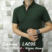 POLO 4 Kaos Kerah Hijau Polos Baju Pria Cowok Bahan Lacos Kaus Pendek - Hijau Tua, M