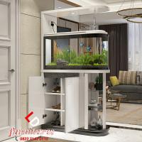 Cabinet Penyekat Ruangan Minimalis Aquarium Desain