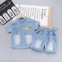 baju setelan anak import 0-3 thn setelan kemeja anak + celana jeans