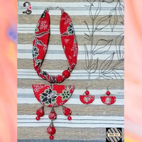 Kalung Wanita Batik Bandul & Anting - Merah