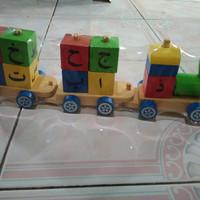 mainan anak mainan kereta mainan kayu balok huruf hijaiyah