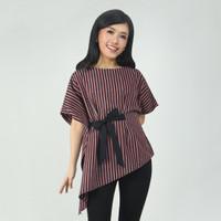 Batik Kultur Tops - RBB - Handmade Black Grey and Carmine Red Lurik