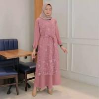 Baju Gamis Syari Wanita Modern Terbaru Alma Maxi Dress Brukat Termurah