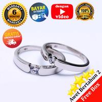 RC 056- Cincin Couple Perak Sterling 925 Emas Putih ASLI Korea-Garansi