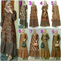 baju gamis batik duo sogan baju pakaian batik wanita muslimah