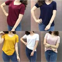 Baju Kaos Polos Wanita/Cewek/Cowok/Pria/V-Neck/Kekinian/Murah/Original