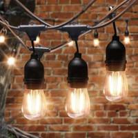 Kabel Fitting Gantung Lampu Outdoor Taman 5 meter / 10 fitting - Hitam