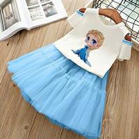 setelan baju rok tile frozen anak perempuan 3 4 5 tahun kaos combed