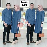 Baju Couple Pasangan Denim Kemeja Skoder Pria Wanita Long Tunik Pesta - Navy