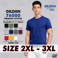 Kaos Polos GILDAN Premium Cotton JUMBO Size 2XL/ 3XL Original 76000