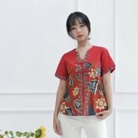 Baju Atasan batik (C208ACI-RED) blouse wanita batik modern terbaru