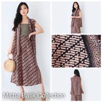 Stelan batik paris: Vest + Culotte pendek Sogan Cream