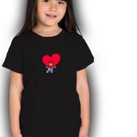 Kaos bts/Baju Anak Perempuan/Atasan Anak/Tshirt/Kaos Murah - Hitam, XS