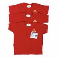 baju anak bayi MIYO atasan lengan pendek merah kancing - 0-3m