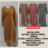 Gamis Brokat Pakaian Muslim Wanita Ukuran XL-XXL
