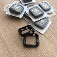 Apple Watch 5 Case Casing SILICONE BLACK HITAM TPU Jelly 40mm 44mm - BLACK, 44MM