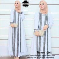 Baju muslim wanita gamis dress abaya turkey arab putih bordir 1094