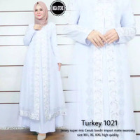 Baju muslim wanita gamis dress abaya turkey arab bordir putih 1021