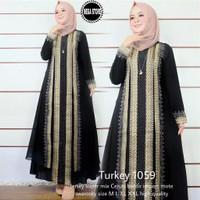 Baju muslim wanita gamis dress abaya turkey arab hitam bordir 1059