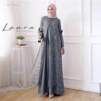 Gamis Syari Brokat Terbaru Model Baju Gamis Kombinasi Brokat Laura