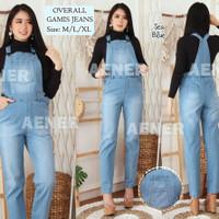 Celana Overall Jumpsuit Gamis Jeans Panjang Kodok Wanita Levis S Blue