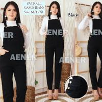 Celana Overall Jumpsuit Gamis Jeans Panjang Kodok Wanita Levis Black