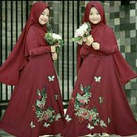 E16 kids/baju muslim anak perempuan gamis anak +bergo usia 7-10 tahun