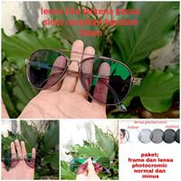 kacamata aviator lensa photocromic normal/minus/cyilinder