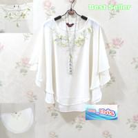 Atasan / Blouse / Wanita / Putih / Best Seller / Model Kalong 01