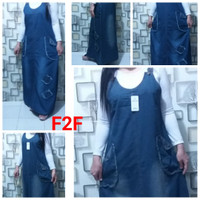 Gamis Overall Jeans / Overall Rok panjang/ jumpsuit jeans
