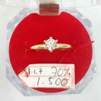 CP505F101F cincin emas kuning gold model permata putih simple elegan