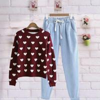 Baju sweater atasan blouse cewek remaja murah setelan stelan celana