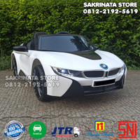 Mainan Anak Mobil Aki BMW i8 Coupe Lisensi Ban Karet