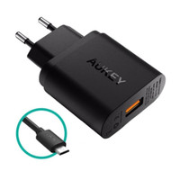 Aukey PA-U28 USB Wall Charger with Quick Charge 2.0 - Hitam 18 W