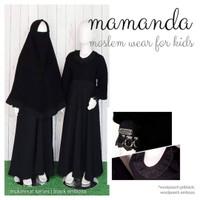 MS Black Embos Baju Muslim Gamis Anak Mamanda Cadar