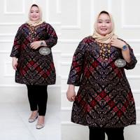 Baju batik tunik atasan wanita super jumbo ld 140 motif songket