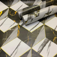 wallpaper stiker dinding motif kotak diamond black and silver