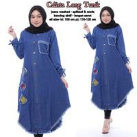 Long tunik jeans / maxi dress / baju atasan wanita / tunik panjang