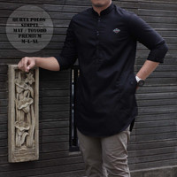 baju koko qurta polos simple premium/qurta polos premium - hitam ,M