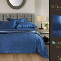 Bedcover Set Seprai Asli Sutra Tencel warna-BIRU