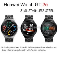 STRAP TALI JAM METAL STAINLESS STEEL BAND 7 BEADS HUAWEI WATCH GT 2E - Hitam