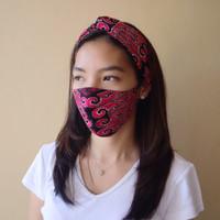Set Masker dan Bandana Kain motif Batik Etnik