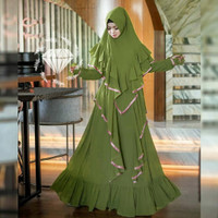 gamis syari arema hijau army baju remaja wanita lebaran murah are at