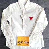 KEMEJA CDG PLAY - white shirt red play , MEN SIZE