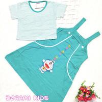 dress overall anak usia 5-8 tahun bordir doraemon